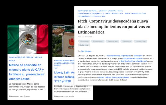 Notas de prensa con anuncios corporativos y de gobiernos