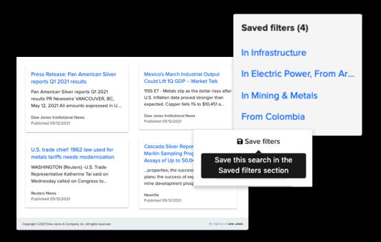 Monitore a imprensa mundial e salve pesquisas que se mantêm atualizadas em tempo real